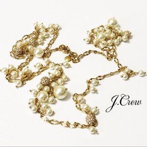 J. Crew Jewelry - J. Crew | Long Gold Crystal and Pearl Necklace